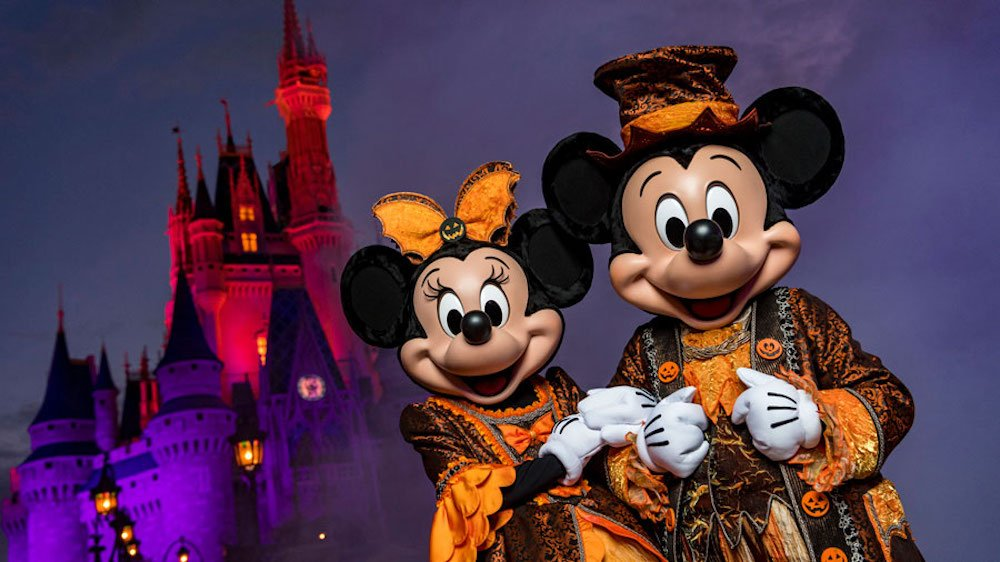 Mickey and Minnie dressed for Not-So-Scary Halloween Party