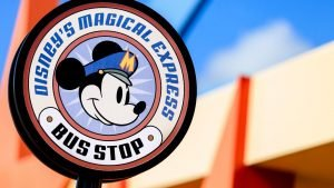 Disney's Magical Express Bus Stop sign at Disney World, learn all about it in this article by Heyday Travel Company!