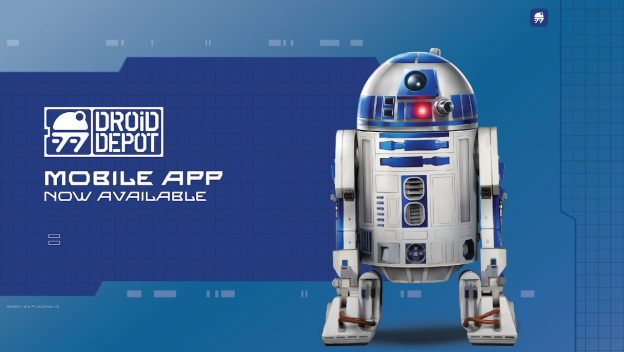 Star Wars Galaxy's Edge Droid Depot App showing R2D2